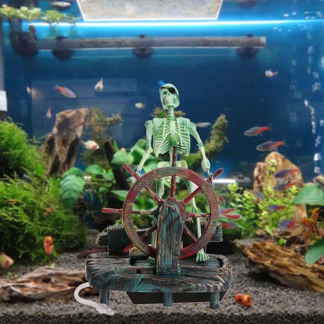 1Pcs Resin Fish Tank Background Decoration Pirate Captain Landscape Skeleton On Wheel Aquarium ...