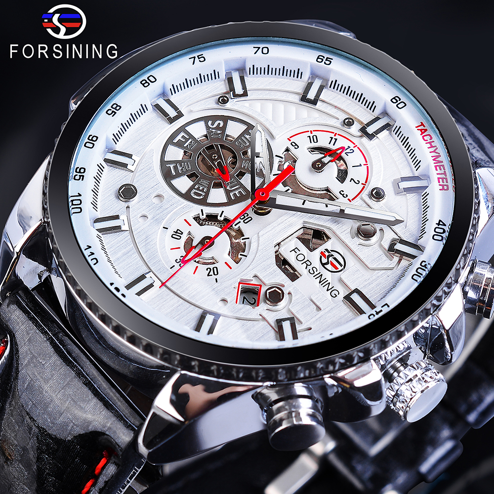 Forsining Mens Automatic Sports Watch White Racing Car Design Calendar Bling Genuine Leather Self-Wind Mechanical Male RelogioForsining Mens Automatic Sports Watch White Racing Car Design Calendar Bling Genuine Leather Self-Wind Mechanical Male Relogio