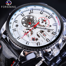 Forsining Men's Automatic Sports Watch White Racing Car Design Calendar Bling Genuine Leather Self-Wind Mechanical Male Relogio цена и фото