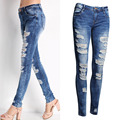 Women Fashion Pants Jeans Hole Stretch Cotton Ripped Jeans Skinny Jeans