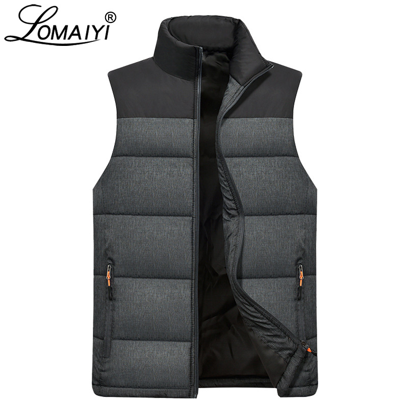 LOMAIYI Mens Winter Sleeveless Jacket Men Down Vest Men's Warm Thick Coats Male Cotton-Padded Waistcoat Gilet Homme Vests BM254
