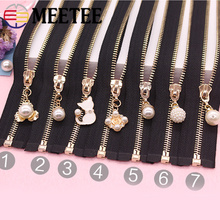 1Pc 5# Open-End Metal Zipper Auto Lock Eco-friendly Pearls Zippers For Coat Jackets Sewing Zips DIY Clothing Accessories