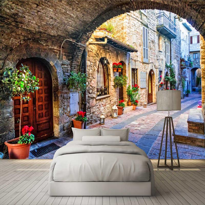 Нетканая настенная бумага на заказ фото настенная бумага 3D итальянский город уличный вид Европейский пейзаж покрытие стен Papel де Parede