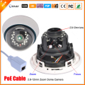 Cctv-top Real 48 V PoE IP Camera 720 P / 960 P 1.0MP câmera 1.3MP rede IP PoE lente Varifocal Zoom 2.8 mm - 12 mm ONVIF PoE cabo