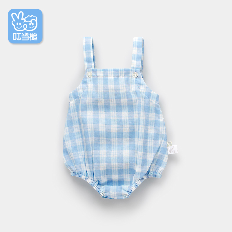 Summer New Born Baby British Plaid Style Romper Toddler Baby Girl Straps Jumpsuit Breathable Cotton Gauze