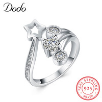 DODO Fashion Silver 925 Adjustable Rings Lucky Meteor Design Sterling Silver Ring With Austrian Cubic Zirconia