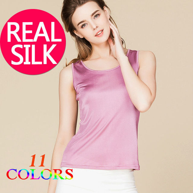 100% pure REAL SILK sleeveless women solid fashion basic shirt o neck barlet femininas tank top vest light colors new tunic
