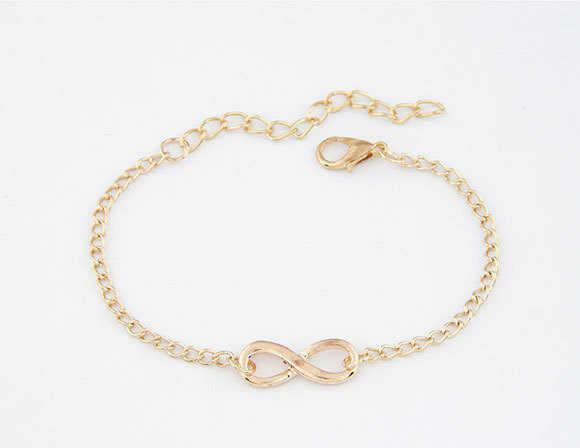 2017 proste moda bransoletki łańcuchowe bransoletka nieskończoność osiem kształt Silver Gold Charm bransoletki bransoletki dla kobiet Pulseras