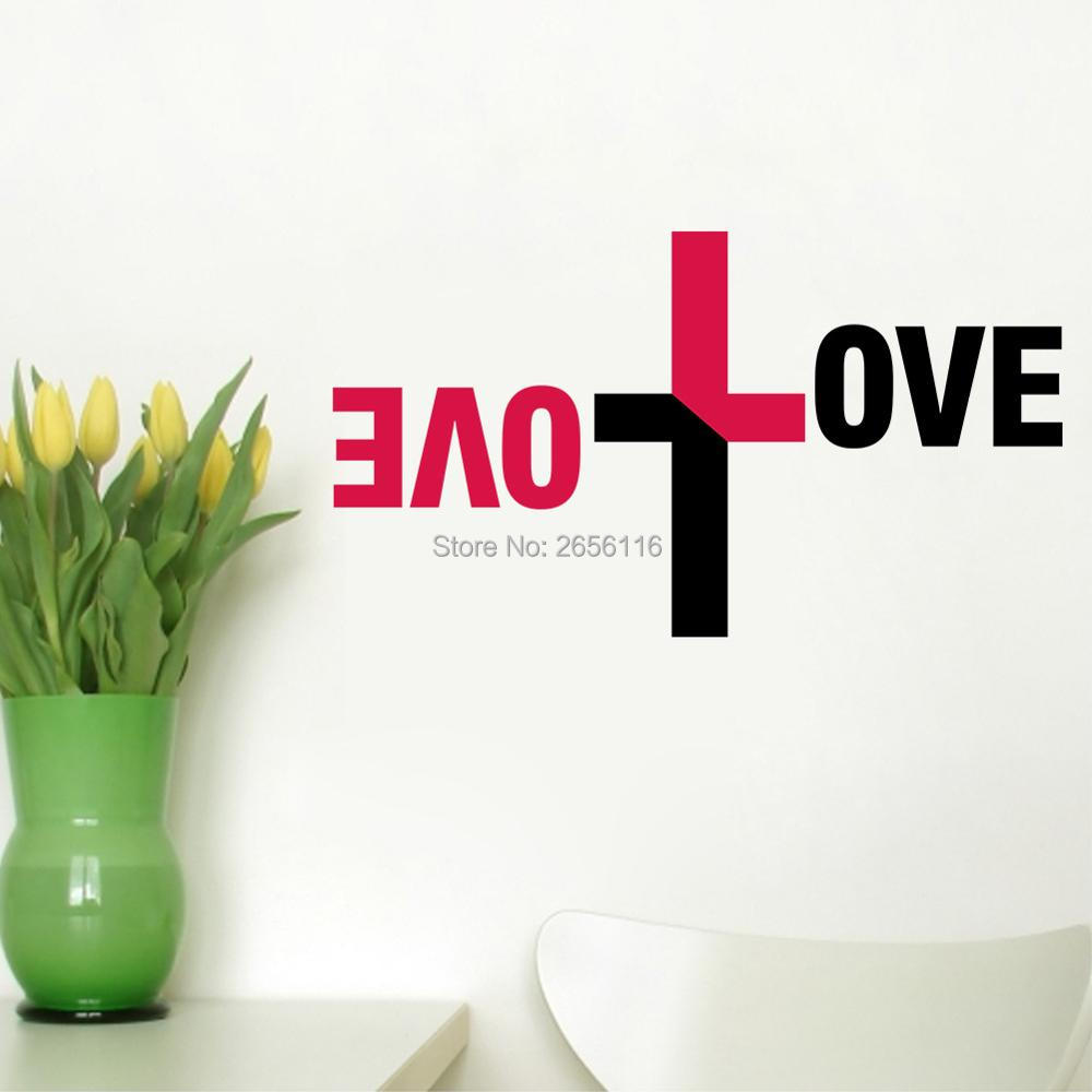compare prices on religious wall decorations online shopping buy christian religious love cross vinyl wall decal cross wall decor art home decor for living room