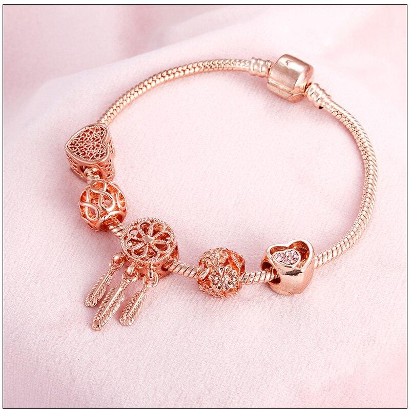 Rose Gold Bracelet Cherry Blossom Tassel Ball Crystal Bead Pendant Charm Trend Bracelets & Bangles For Women Jewelry Girl Gifts 7