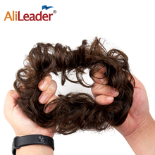 AliLeader Chignon Curly Fake Hair Bun Ponytail Extensions Short Synthetic Messy Donut Drawstring for Woman1PC