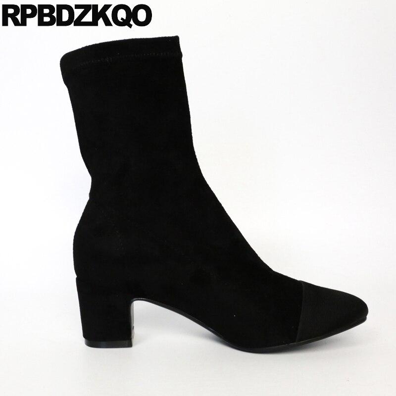 Peau Sur Designer Suede black Black Slip Hiver Chunky Chaussures Lined Cheville Bout Stretch En Carré Femelle Fur Bloc 2017 Mouton Talon Femmes Bottes Moyen Court De gFnYHqwx1