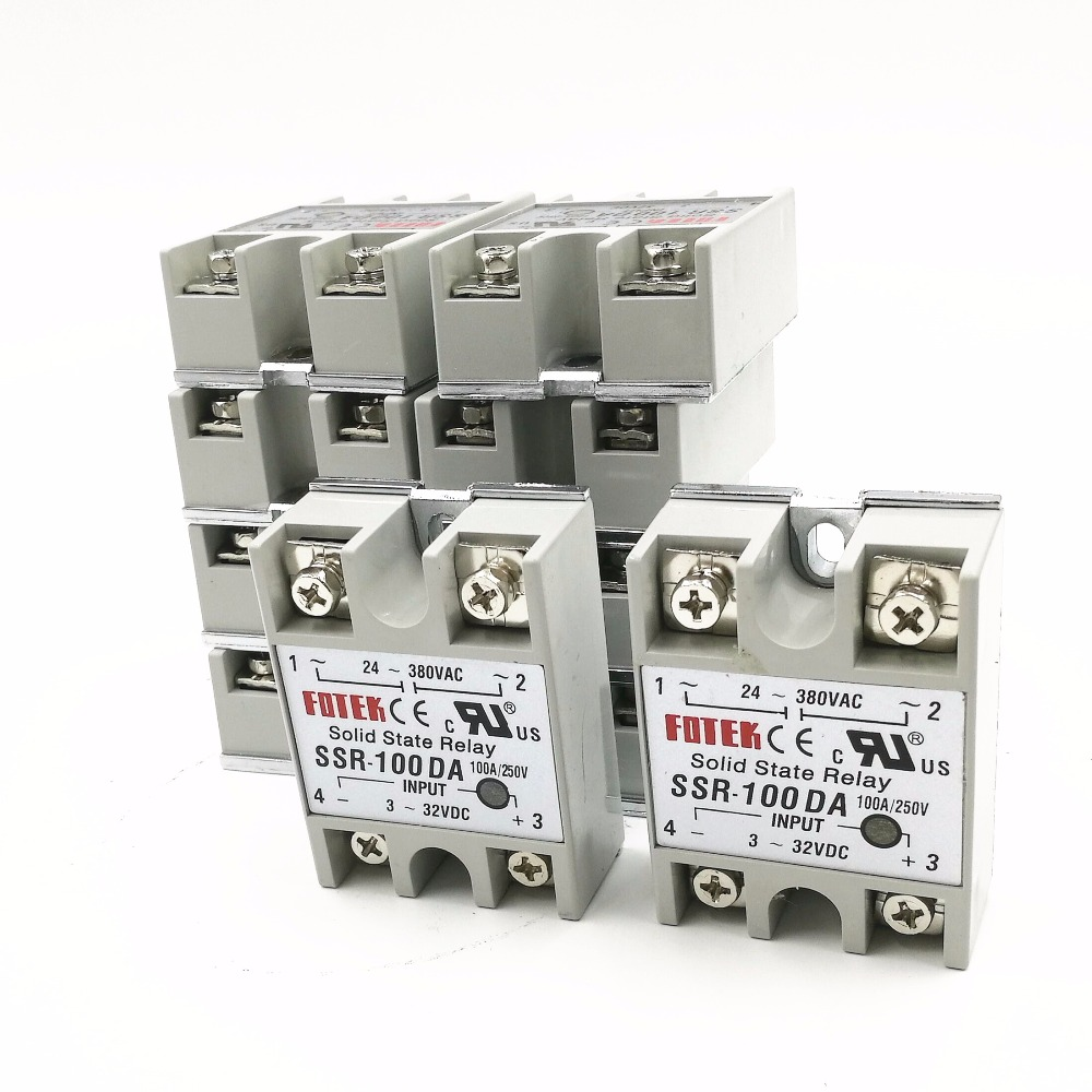10PCS SSR100DA SSR-100DA Manufacturer 100A SSR Single phase solid state relay,input 3-32VDC output 24-380VAC