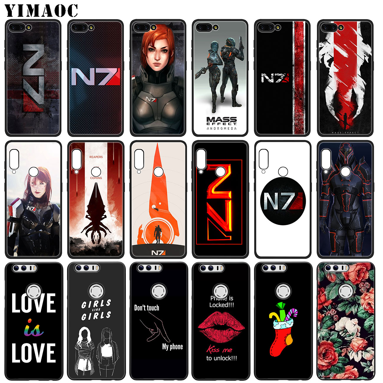 YIMAOC N7 Mass Effect Soft Silicone Case for Huawei Y7 Y6 Prime Y9 2018  Honor 8C 8X 8 9 10 Lite 7C 7X 7A Pro flower Black Cover