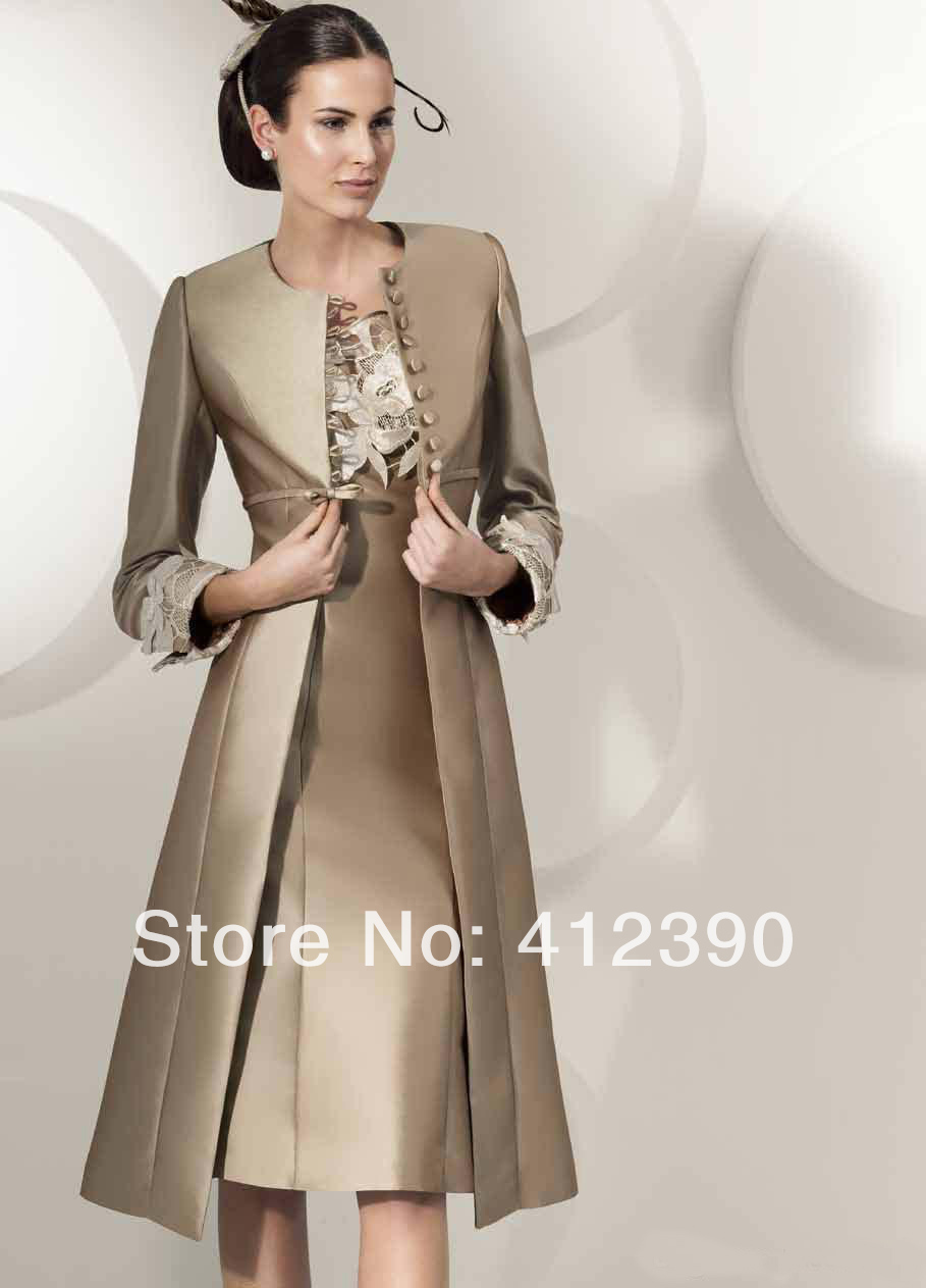 Brown Satin Lace Tea Length Mother of the Bride Dresses With Long Jacket Formal Evening Dresses