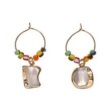 Casual Women Ethnic Big Circle Round Hollow Tassel Earrings Bohemia Metal Beads Pearls Jewlery