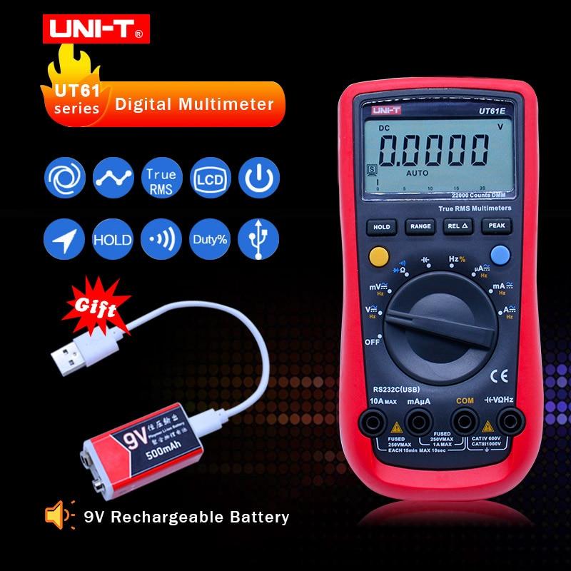 UNI-T UT61E Digital Multimeter True rms Auto Range UT61B/C/D/E AC DC Meter Daten Halten multimetro 9 v Akku