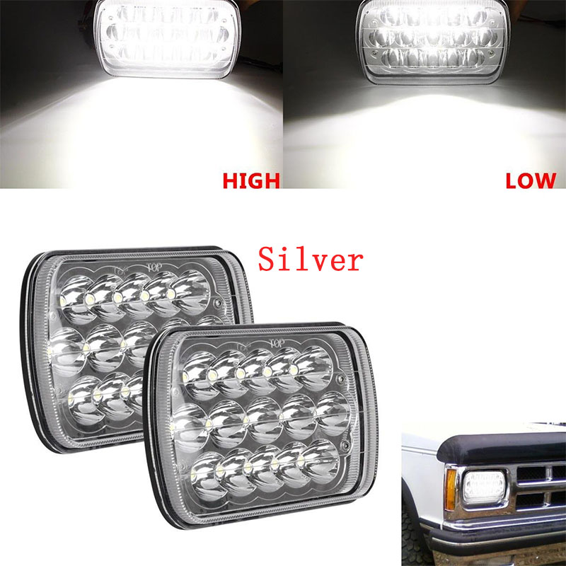 ФОТО  7 x 6 inch 27450C Pair of Rectangular led 5 x 7 12V 24V High/Low beam for GM Ford Van Jeep XJ YJ Headlights