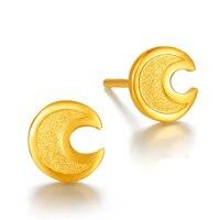 Чистый 24 К желтого золота серьги Для женщин Moon Серьги 1,59 г
