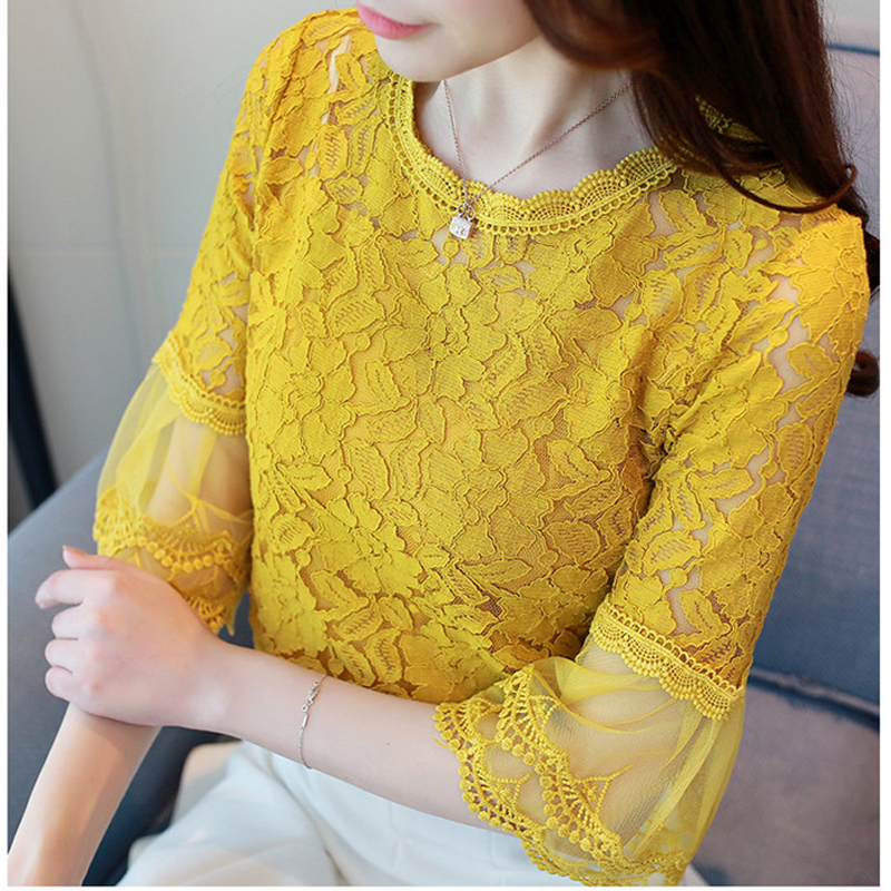 Spring Women round neck autumn   Blouses     shirt   lace Women Tops 2019 New Fashion Women   Blouses   hollow out yellow   Blouses   708J3