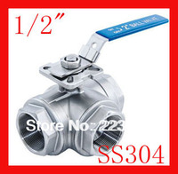 Free Shippig New Arrival 1 2 CF8 SS304 Stainless Steel Three Way Ball Valve T Port