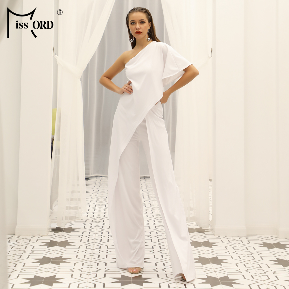 Missord 2020 New Summer Sexy Off Shoulder Ruffle Rompers Elegant Wide-leg Solid Color Women Casual Jumpsuit FT18845-1