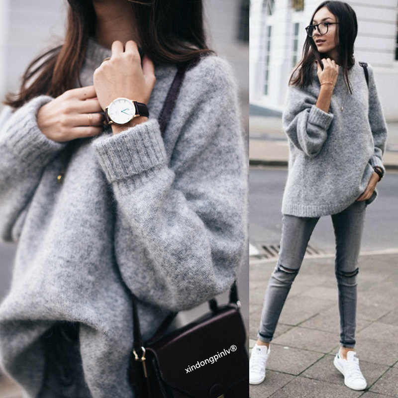 Women O Neck Knitwear Tops Long Sleeve Casual Loose Pullover Sweaters  Cotton Loose Warm Pullover Sweater 4e082f7a74c8