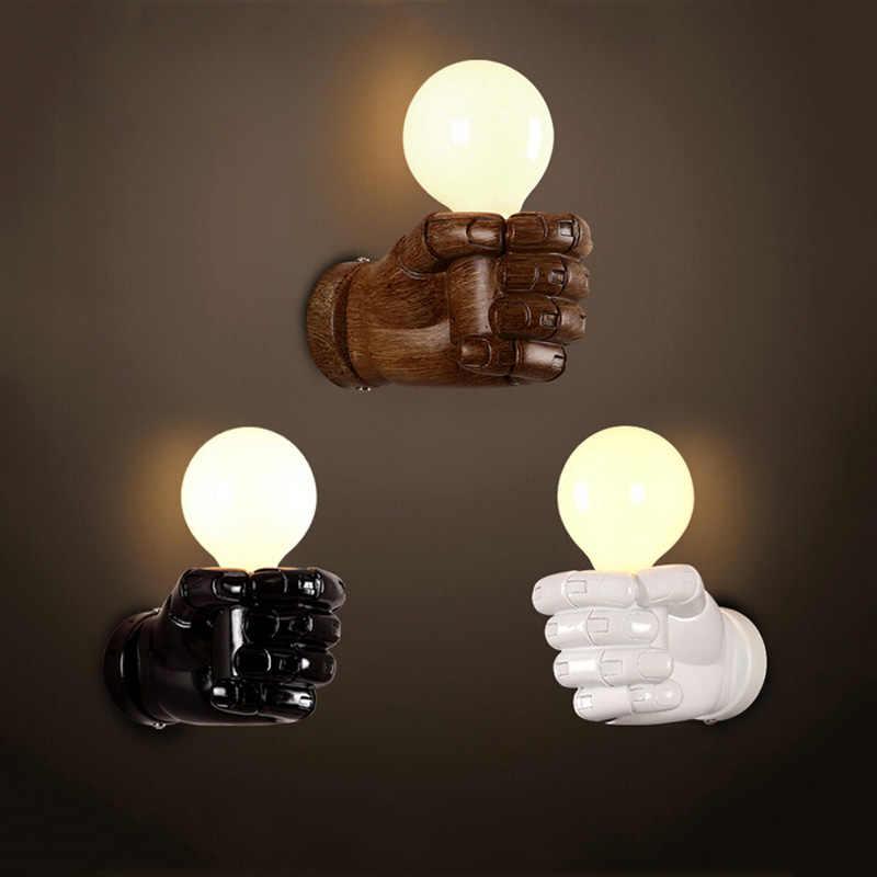 Кулак из смолы арт настенный светильник Ретро Лофт Ресторан Бар Клуб Кафе лампа для паба офиса балкона прохода коридор прикроватный свет бра