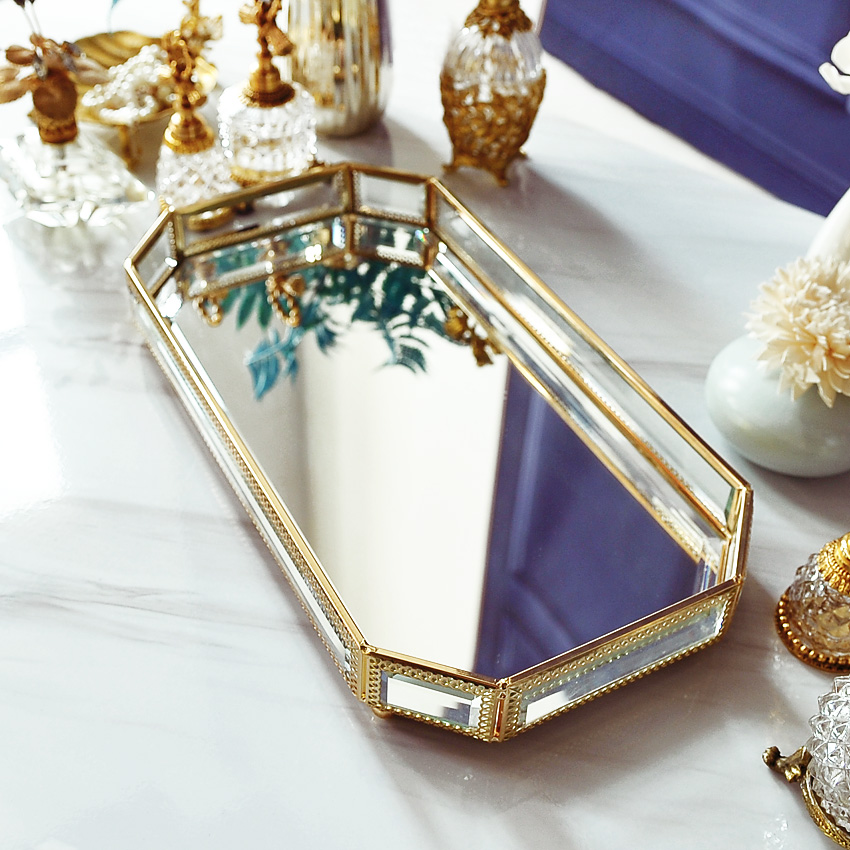 Makeup tray glass jewelry storage decoration living room coffee table decorations wedding decoration cake toolsMakeup tray glass jewelry storage decoration living room coffee table decorations wedding decoration cake tools