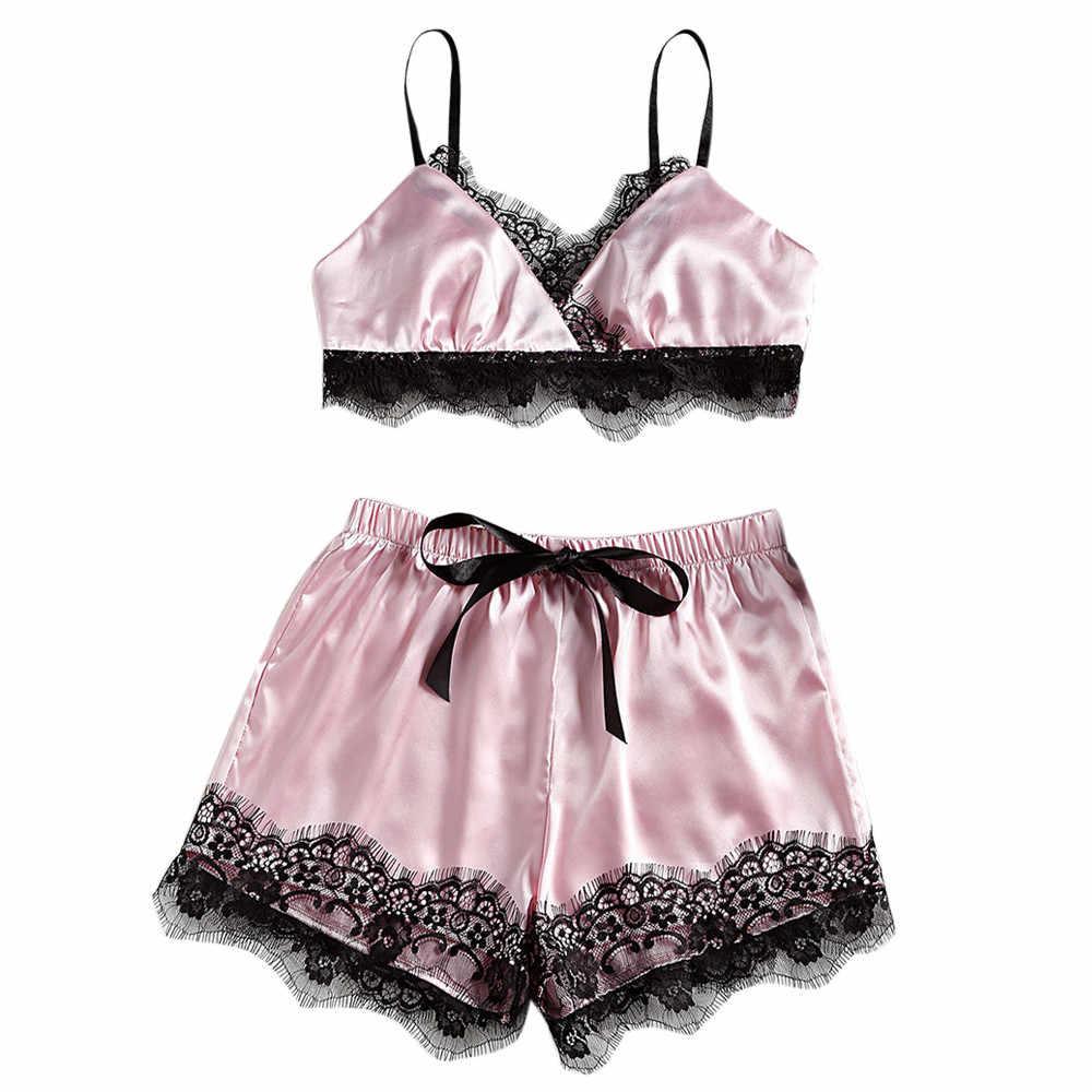 5e739b120113e Женская пижама Сексуальный Атласный пижамный комплект Кружева Bodydoll v-образным  вырезом пижамы без рукавов укороченный