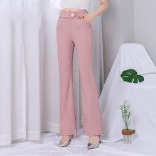 Chiffon Bell Bottom Pants Women 2019 Summer Pink High Waist
