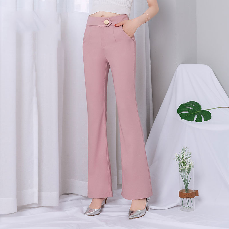 Chiffon Bell Bottom   Pants   Women 2019 Summer Pink High Waist Long   Wide     Leg     Pants   Womens Plus Size Fashions Flare   Pants   Large Size