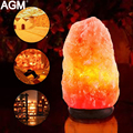 Us ue plug usb 7 cores naturais de sal do himalaia lâmpada ar Mesa de Cristal De Rocha Saudável purificador Night Light Base de Madeira Mesa Lampe