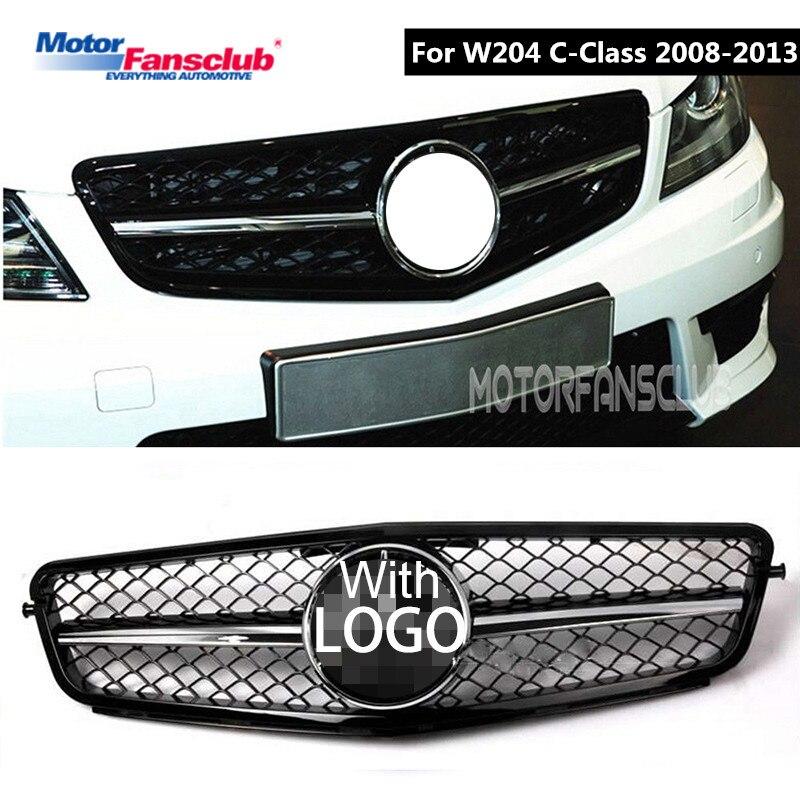 Voiture de Course Grille Pour Mercedes Benz W204 2008-2014 C200 C300 C350 Grill Avec Emblèmes Chrome Maille Radiateur Avant pare-chocs Inférieur