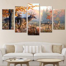 HD Printed canvas painting deer forest Picture 5 piece art home decor poster print wall pictures for living room