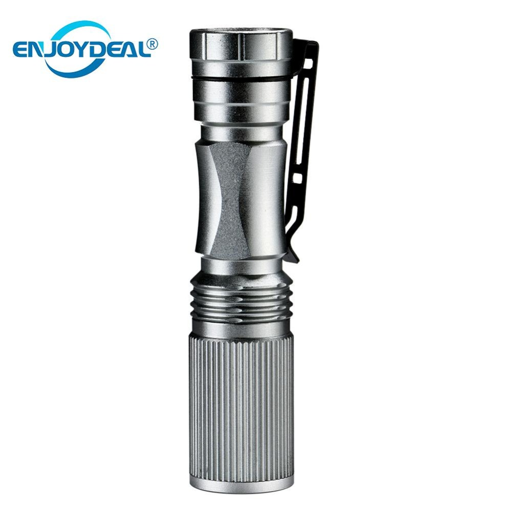 2020 Mini Zoomable Ultra Bright 1000LM LED Flashlight Torch Light Lamp Camping Hunting Lanterna Silver For AA/14500 Battery