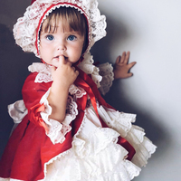 Cekcya Spain Dress Girls Royal Costumes Kids Princess Wedding Birthday Dresses Party Lace Robe Fille Baby Girl Clothing 4PCS Set