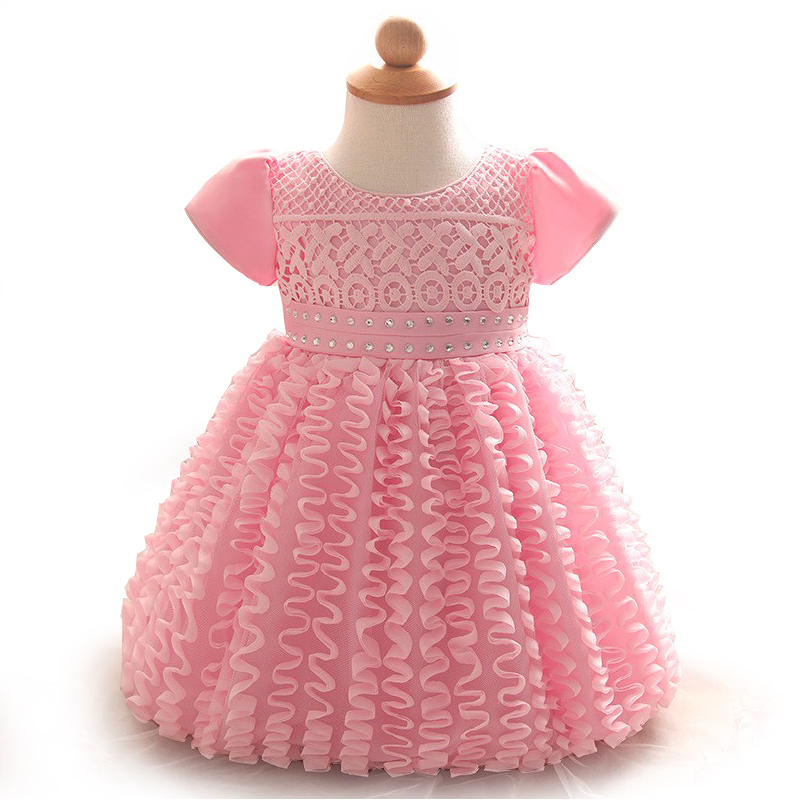 2017 newborn dresses Baby girl flower dress pink tutu
