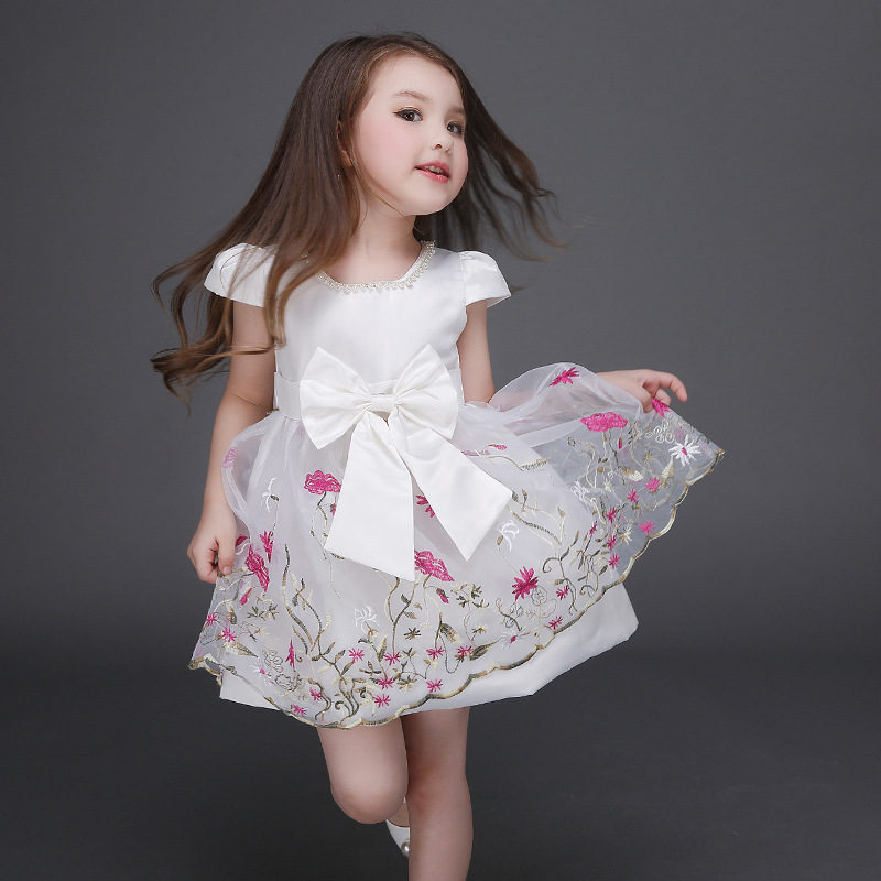 15 Floral Embroidered Bridal Dresses For A Summer Wedding: Spring Summer Girl Dress Embroidered Flower Organza Kids