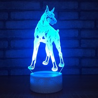 Touch Switch 3D Dobermann Pinscher LED Lamp USB Dog Night Light 7 Colors Kids Room Decor Fixture As Kids Christmas Novelty Gifts