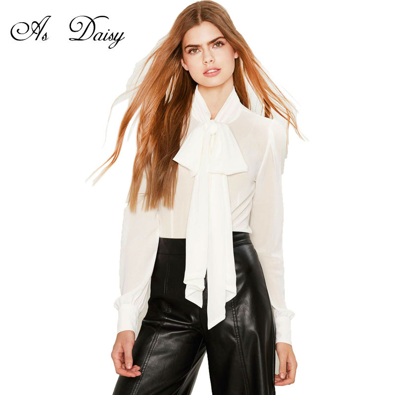 As Daisy High Quality Bow Neck Long Sleeve White Shirt
