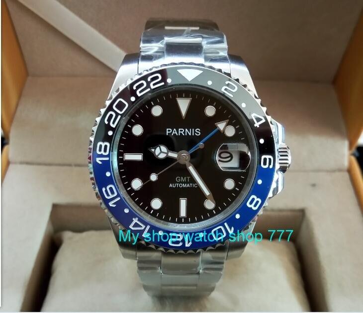40mm PARNIS Saphir Cristal GMT Automatique machines de mouvement lumineux hommes montres Noir et bleu en céramique lunette xjp230A
