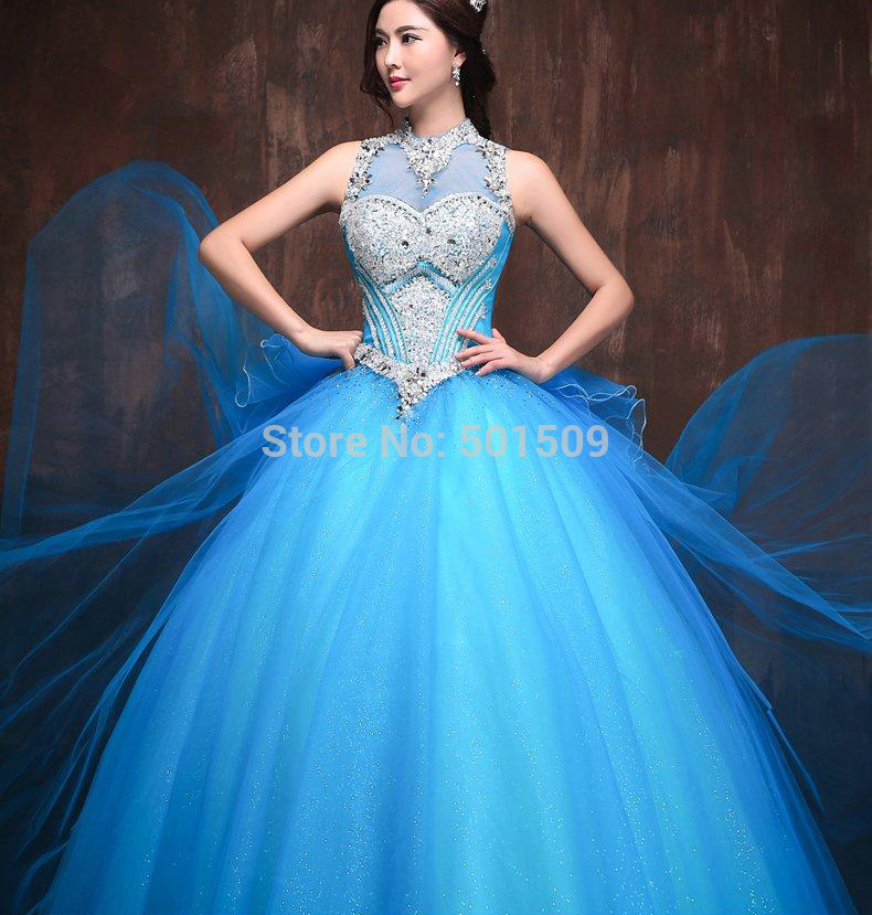 Blauwe jurk strass
