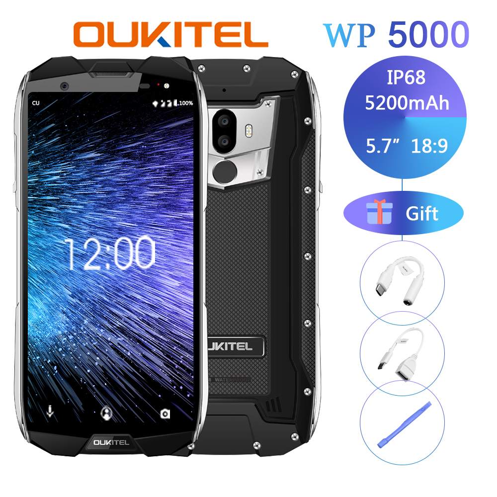 Original <font><b>Oukitel</b></font> <font><b>Wp5000</b></font> Ip68 Waterproof Smartphone Android 7.1 Helio P25 Octa Core <font><b>6gb</b></font> Ram <font><b>64gb</b></font> Rom 5200mah 9v/2a Mobile Phone image