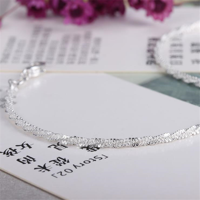 KOFSAC 2018 New Intertwined 925 Sterling Silver Ankle Chain Simple Gypsophila Chain Anklets For Women Jewelry Girl Best Gift