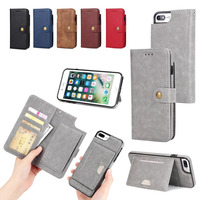 Deluxe Flip For IPhone 6s Case Detachable Wallet Magnetic Multicard Slot Strap Flip Leather Cases For