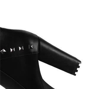 Image 5 - MORAZORA 2020 جديد أحذية أنيقة امرأة جولة تو الخريف الشتاء حذاء من الجلد للنساء مثير منصة حزب أحذية عالية الكعب الأحذية