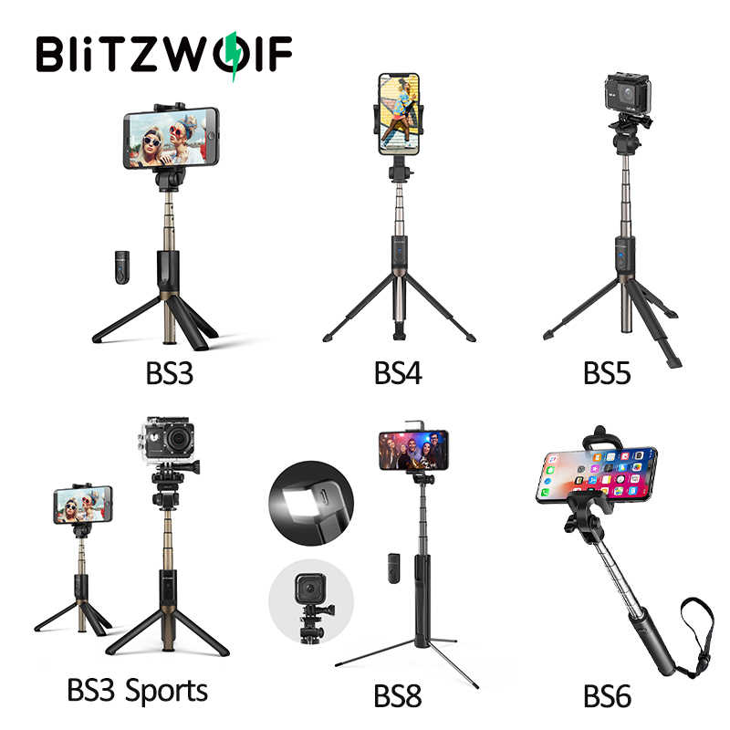 BlitzWolf Wireless bluetooth Selfie Stick Tripod Mini Extendable Monopod Universal For iPhone For Samsung For Iphone For Canon
