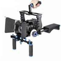 DSLR Rig Video Stabilizer Schouder Mount Rig + Matte Box + Follow Focus Dslr Kooi voor Canon Nikon Sony DSLR video Camcorder-in Accessoires voor fotostudio's van Consumentenelektronica op