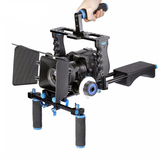 DSLR Rig Video Stabilizer Shoulder Mount Rig+Matte Box+Follow Focus Dslr Cage for Canon Nikon Sony DSLR  Video Camcorder